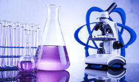 Chemical,science and laboratory glassware background Royalty Free Stock Images