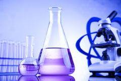 Chemical,science and laboratory glassware background Stock Images