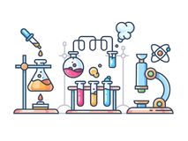 Chemical scientific experiment. Beakers and test tubes for laboratory. Vector illustration royalty free illustration