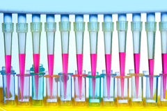 Chemical scientific laboratory multi channel pipette stock photos