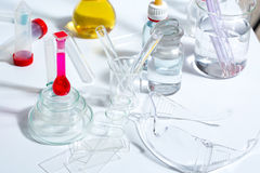 Chemical scientific laboratory stuff test tube flask Royalty Free Stock Photography