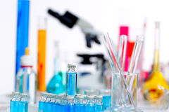 Chemical scientific laboratory stuff test tube flask Stock Images