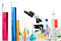 Chemical scientific laboratory stuff test tube flask Royalty Free Stock Images