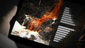 Chemical Scientist Analyzing Water Pollution Charts on Digital Tablet stock footage