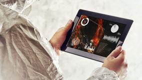Chemical Scientist Analyzing Water Pollution Charts on Digital Tablet stock video