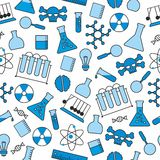Chemical seamless pattern, chemical laboratory supplies seamless pattern, flask and test tube and beaker Stock Images