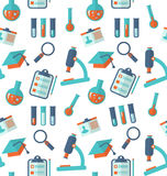 Chemical Seamless Pattern with Different Laboratory Objects Stock Images