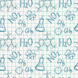 Chemical seamless pattern. Vector background. Stock Photos