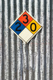 Chemical sign. Standard chemical sign on corrugated metal wall royalty free stock photo