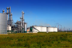 Chemical skyline. A chemical plant, tank farm and more refineries on the horizon Stock Photos