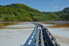 Chemical spills at the lake from Geamana in the Apuseni Mountains, Romania Stock Photos