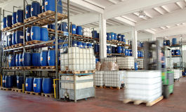 Chemical storage. Internal view of storage of chemical industry Stock Photo