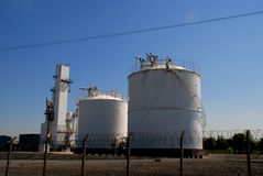 Chemical Storage. Chemical or gas storage tank facility Stock Image