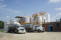 Chemical Storage Tank And Tanker Truck Royalty Free Stock Photo