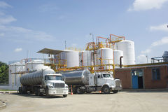 Chemical Storage Tank And Tanker Truck stock images