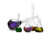 Chemical storm. A set of coloured beakers with inside a storm chemistry Stock Image