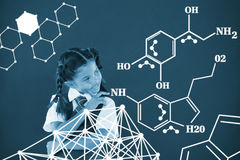 Composite image of chemical structure against white background Royalty Free Stock Photo