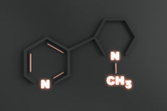 Chemical Structure of Nicotine. A solid look at the chemical structure that is the source of addiction for so many humans Royalty Free Stock Image