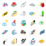 Chemical substance icons set, isometric style Stock Photos
