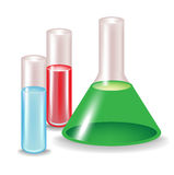 Chemical substances in glass containers Royalty Free Stock Photo