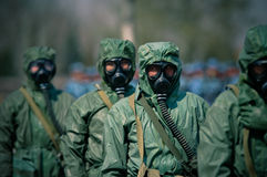 Chemical suit. This photo is taken in a military chemical defense drill Royalty Free Stock Photo