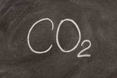 Chemical symbol for carbon dioxide on a blackboard stock photo