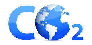 Chemical symbol CO2 for carbon dioxide in blue Stock Photos