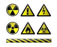 Chemical symbols / Vector. Vector of chemical hazard symbols on white Stock Photos