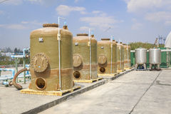 Chemical tank storage with PVC pipe line Stock Images