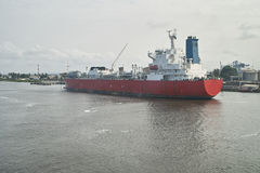 Chemical tanker. In abidjan harbour during loading chemical product Royalty Free Stock Photography
