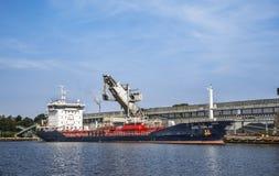 Chemical tanker Aziz Torlak. Standing near the loading bay in Gdansk harbor. Gdansk, Poland Royalty Free Stock Photo