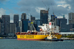 Chemical Tanker departs White Bay in Sydney Stock Images
