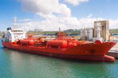 Chemical tanker moored in port Royalty Free Stock Photo