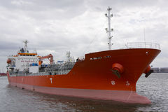 Chemical tanker mooring in port Royalty Free Stock Photos