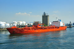 Chemical tanker and port Stock Images