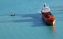Chemical Tanker Ship Seen From The Above Royalty Free Stock Photo