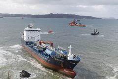 The chemical tanker vessel Blue Star is seen stranded off the coast of Ares