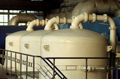 Chemical tanks. Auxiliares of power plant royalty free stock image