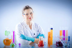 Chemical technologist in laboratory environment. Royalty Free Stock Photography