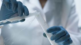 Chemical test, biochemist pouring evaporating liquid into the tube, laboratory. Stock footage Royalty Free Stock Photos