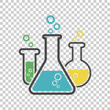 Chemical test tube pictogram icon. Laboratory glassware or beaker equipment isolated on isolated background. Experiment flasks. T royalty free illustration