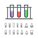 Chemical test tubes icons Stock Images