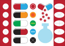 Chemical test tubes and pills icons illustration vector Royalty Free Stock Photography
