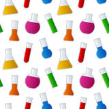 Chemical Test Tubes Seamless Pattern. A seamless pattern with different chemical test tubes with colorful liquid,  on white background. Eps file available Royalty Free Stock Image