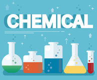 Chemical text and colorful laboratory filled with a clear liquid and blue background Stock Image