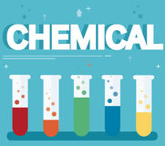 Chemical text and colorful laboratory filled with a clear liquid and blue background Royalty Free Stock Photo