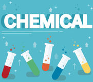 Chemical text and colorful laboratory filled with a clear liquid and blue background Stock Photography
