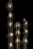 Chemical towers at night. Intimate details of a chemical production facility at night Royalty Free Stock Image