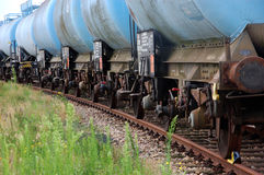 Chemical train wagons Stock Images