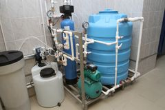 Chemical treatment of water stock images
